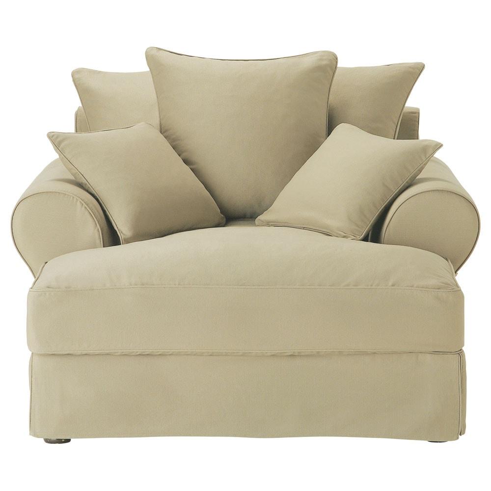 Chaise longue beige grigio chiaro in cotone bastide - Maison du monde chaise longue ...