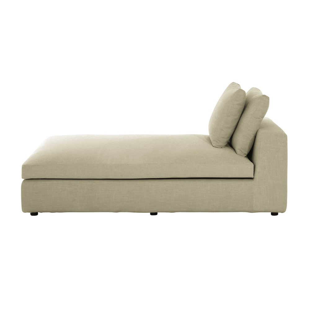 chaise longue beige grigio chiaro in tessuto edgard maisons du monde. Black Bedroom Furniture Sets. Home Design Ideas