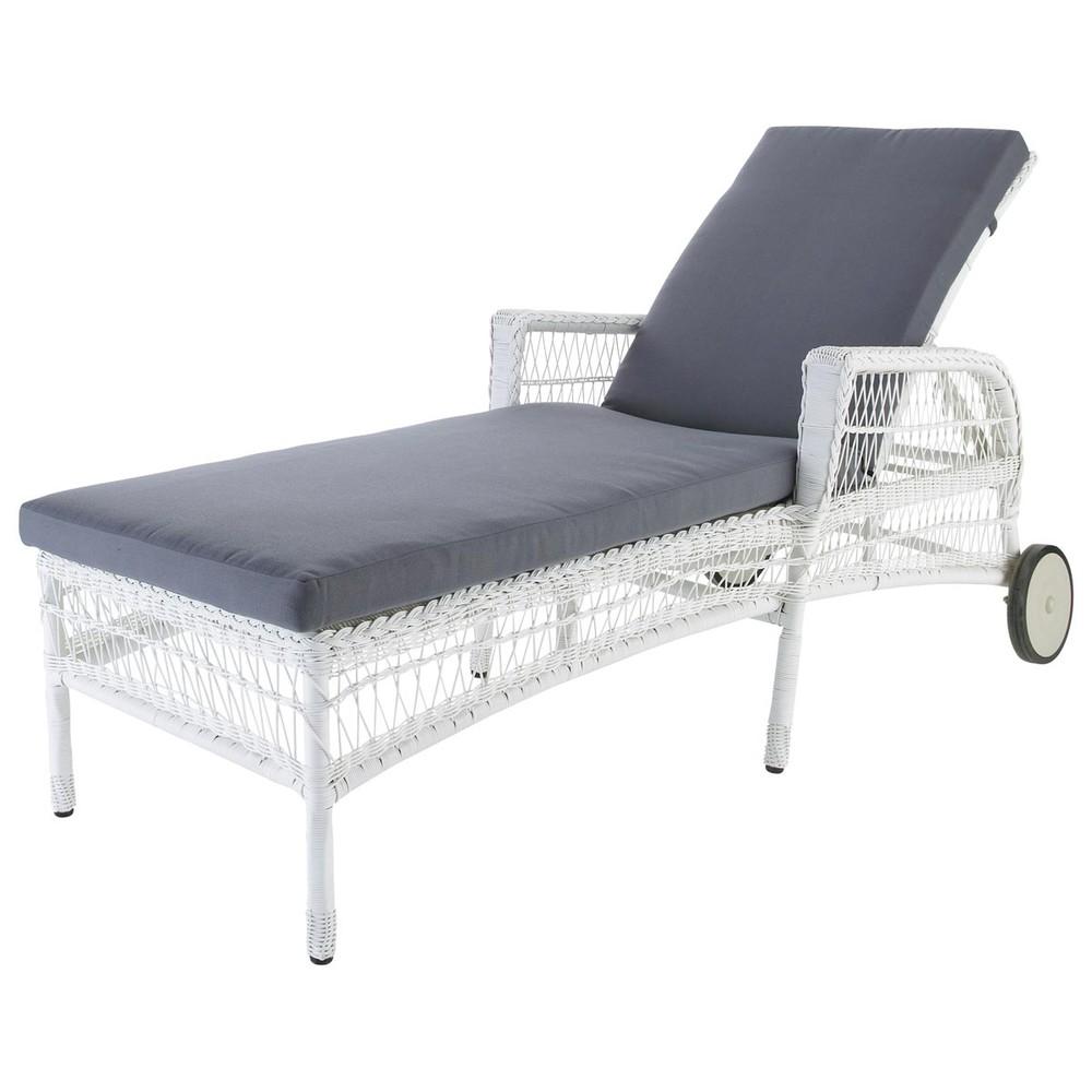 Chaise longue bianca in resina intrecciata l 200 cm emily - Maison du monde chaise longue ...