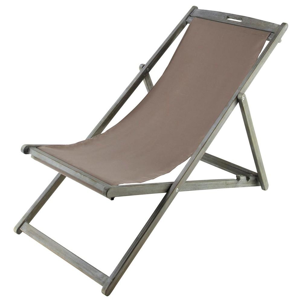 Chaise longue chilienne pliante en acacia gris e l 111 for Chaise longue pliante
