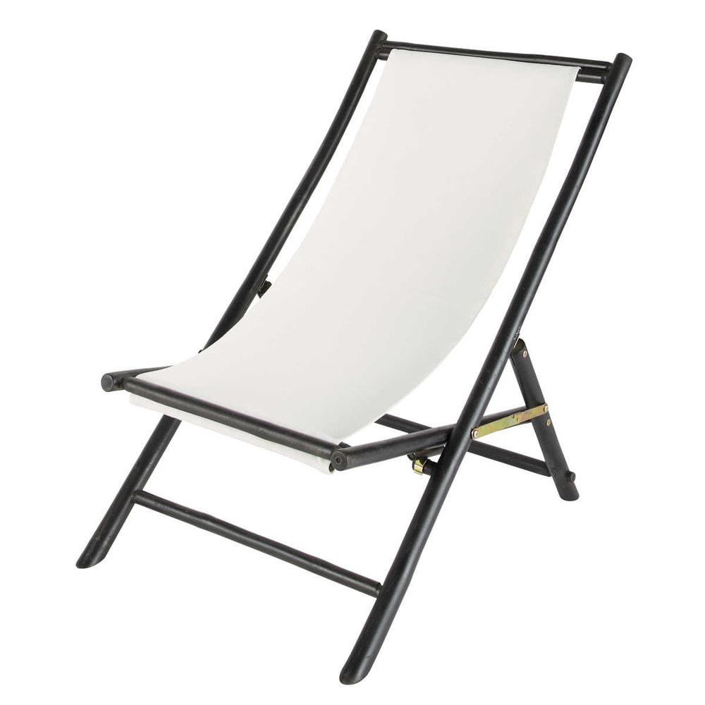 Chaise longue chilienne pliante en bambou noir l 94 cm for Maison du monde chaise longue