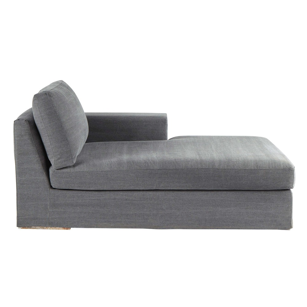 chaise longue de algod n gris anvers maisons du monde. Black Bedroom Furniture Sets. Home Design Ideas