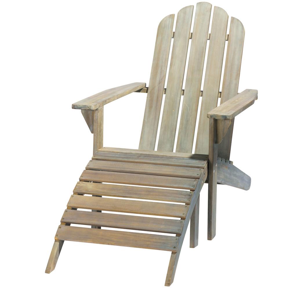 Chaise longue en acacia gris e ontario maisons du monde for Chaises longues de jardin design