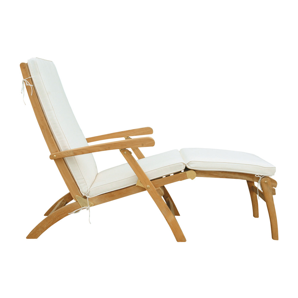 Chaise longue en teck massif l 170 cm ol ron maisons du for Chaise longue de jardin teck