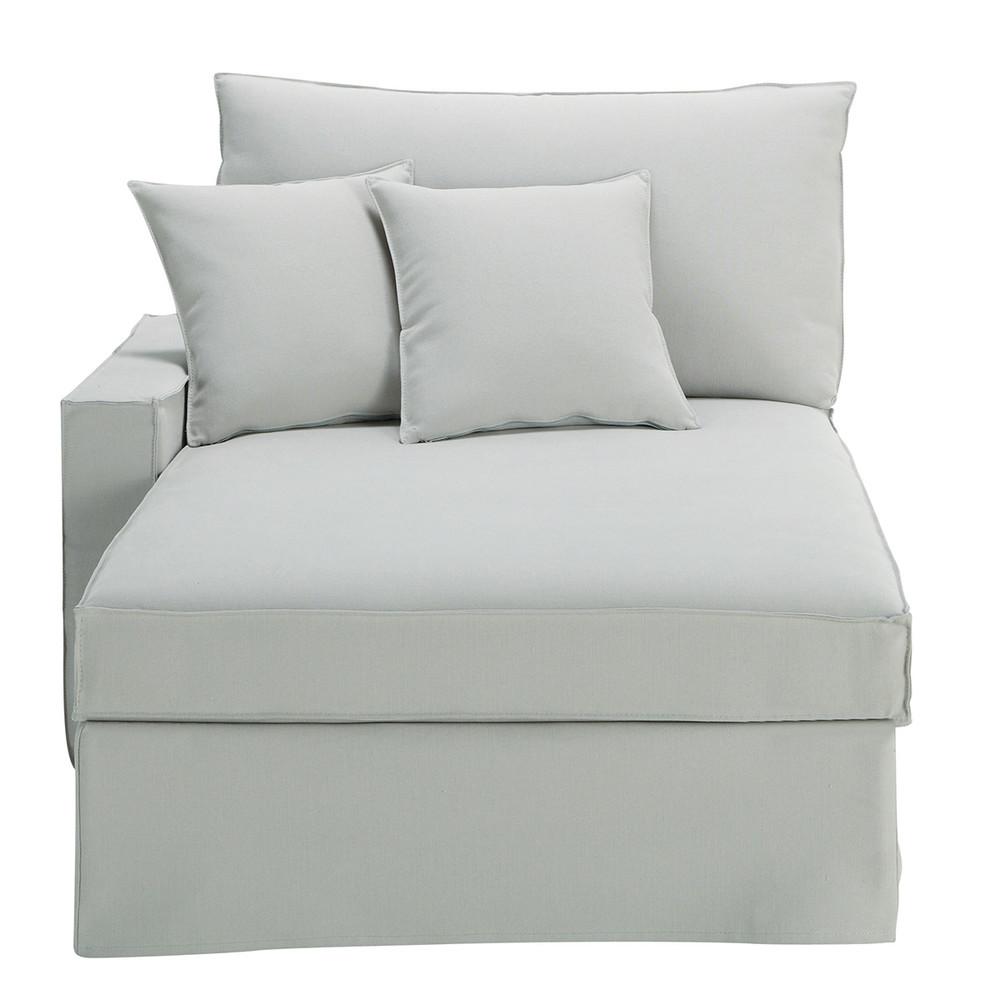 Chaise longue grigio chiaro in cotone e lino enzo - Maison du monde chaise longue ...