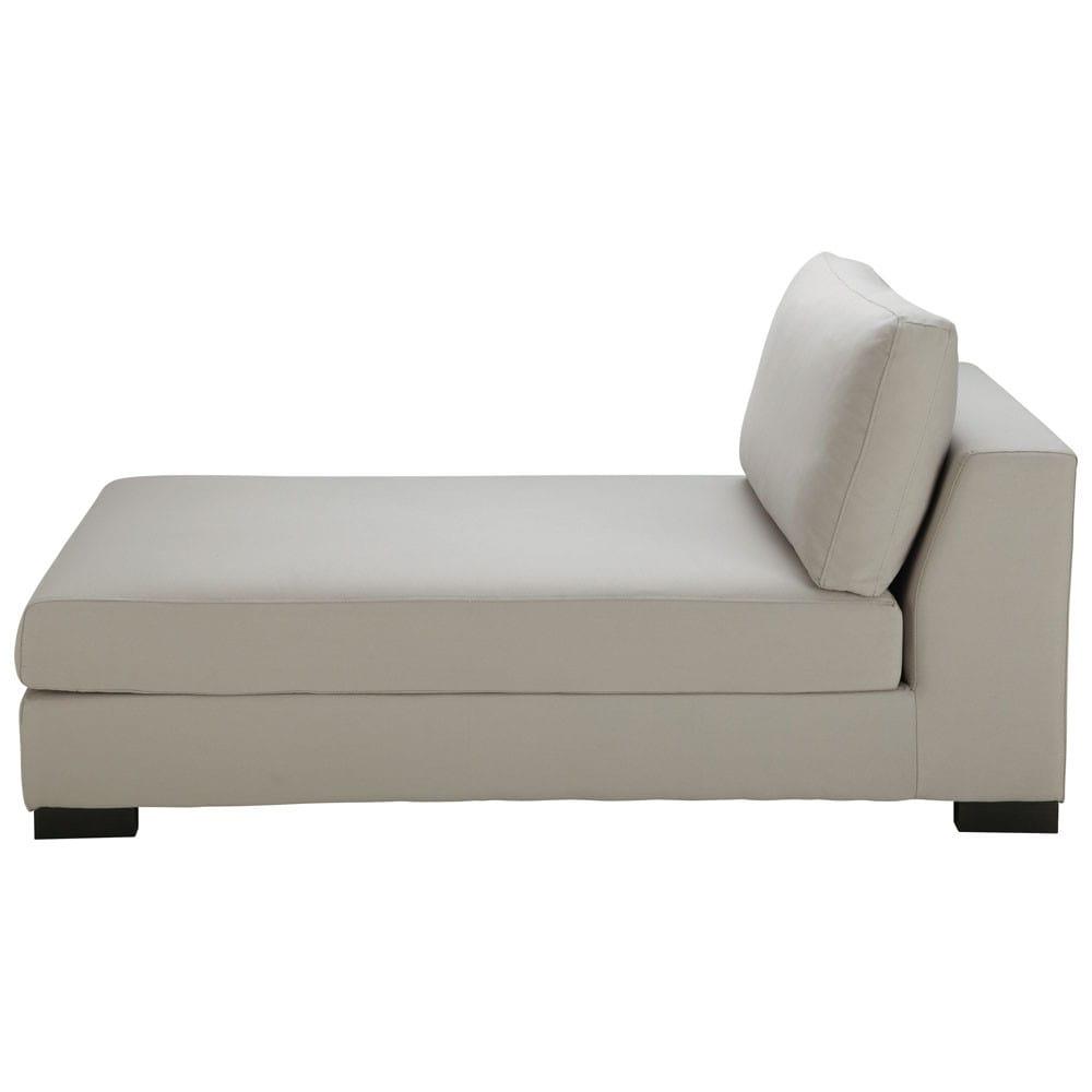 Chaise longue grigio chiaro in cotone terence maisons du for Maison du monde chaise longue