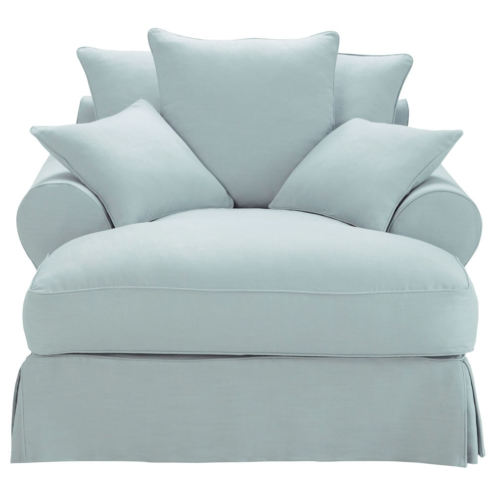 Chaise longue in blue grey linen bastide bastide - Chaise bistrot maison du monde ...