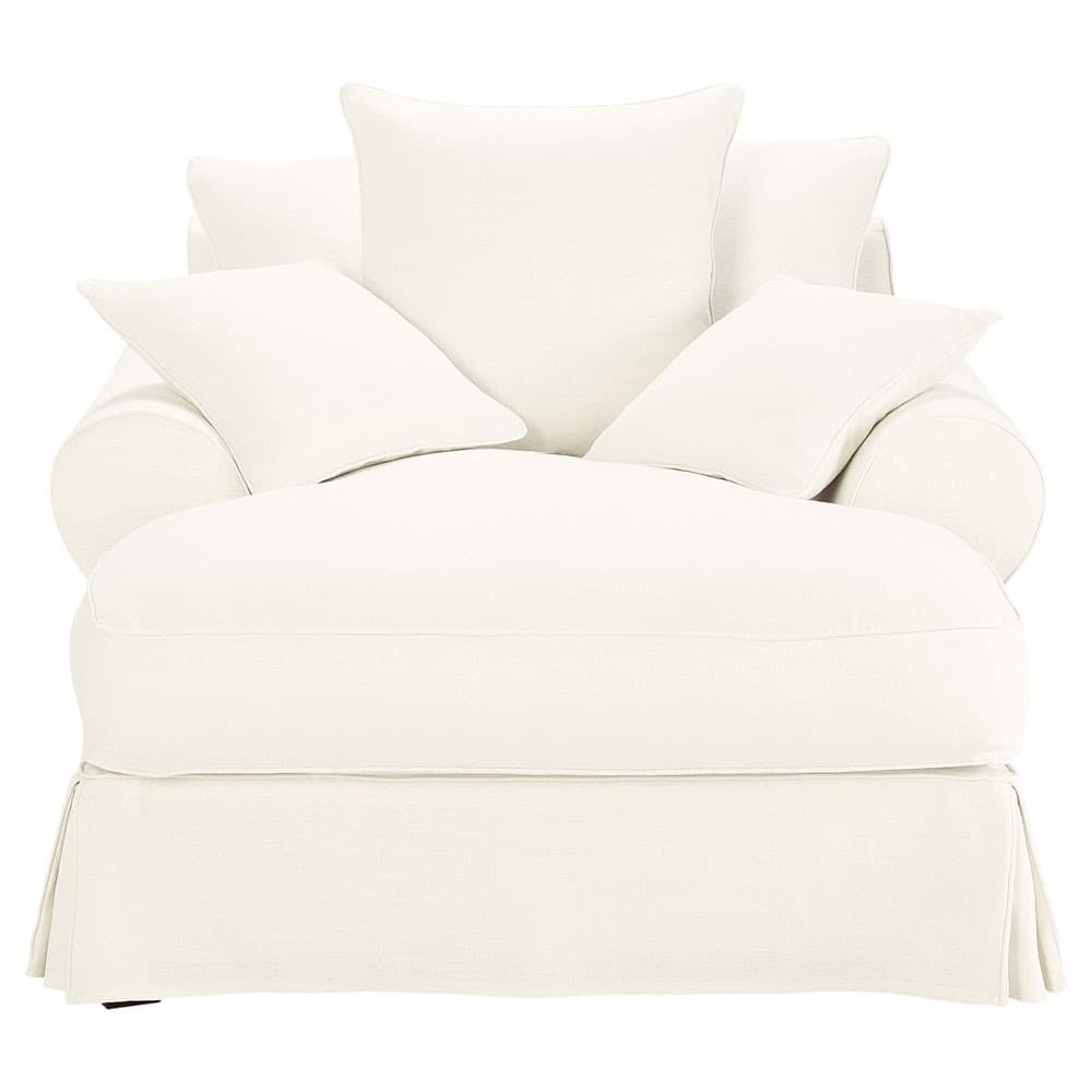 chaise longue in white linen bastide bastide maisons du monde. Black Bedroom Furniture Sets. Home Design Ideas