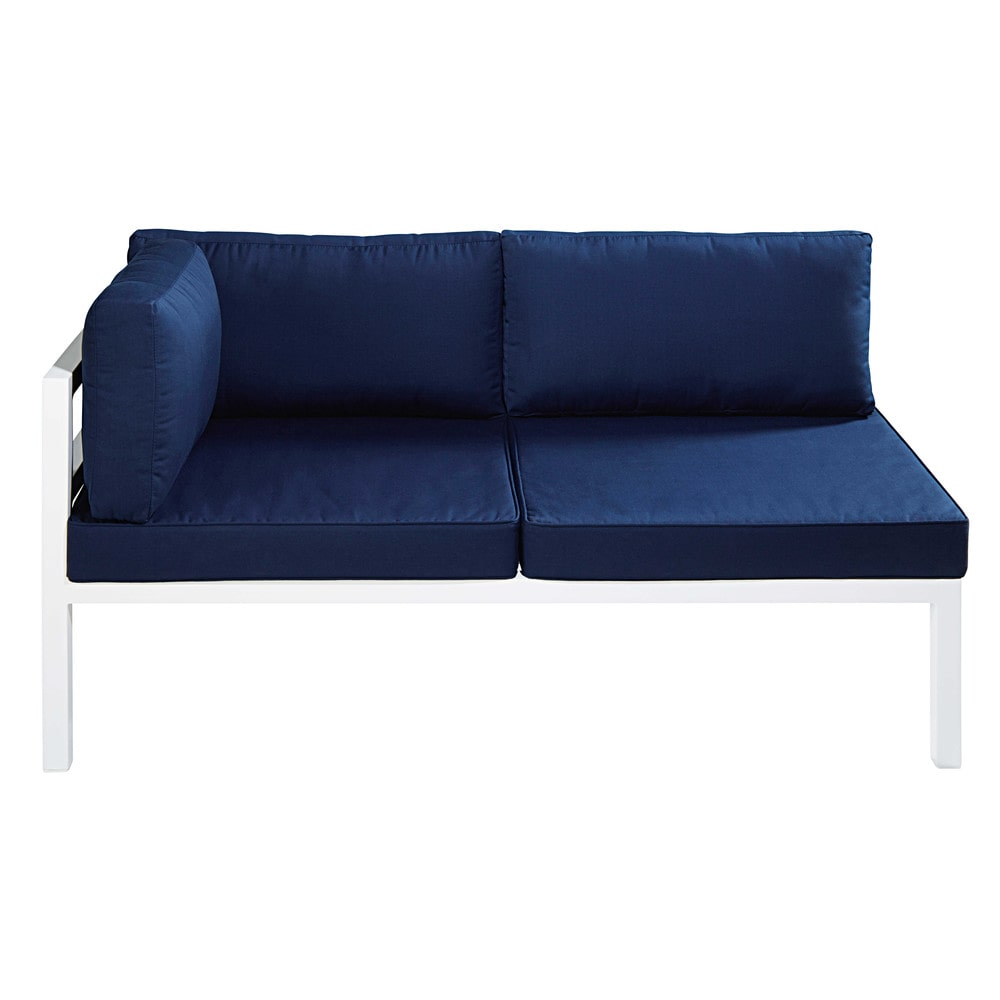 Chaise longue izquierda de jard n de aluminio blanca y for Chaise longue azul turquesa