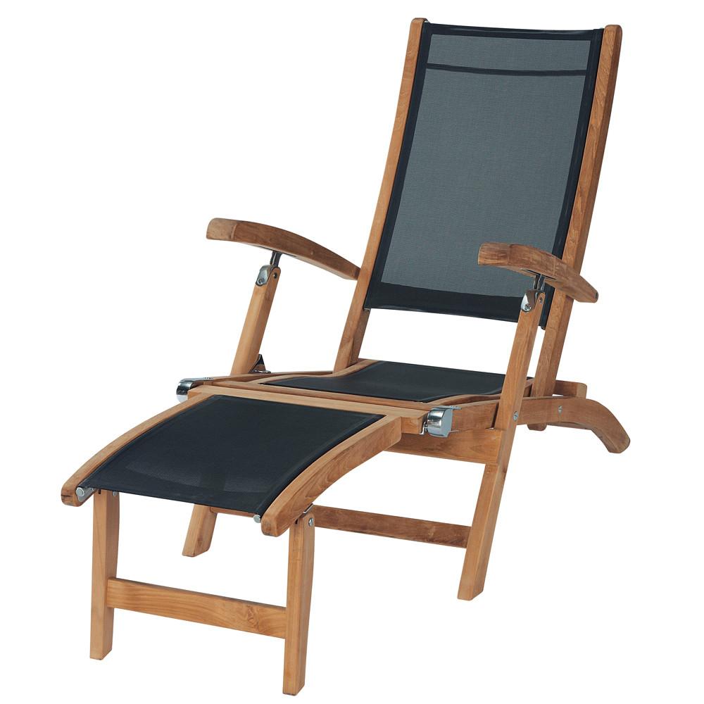 Chaise longue nera capri capri maisons du monde - Maison du monde chaise longue ...