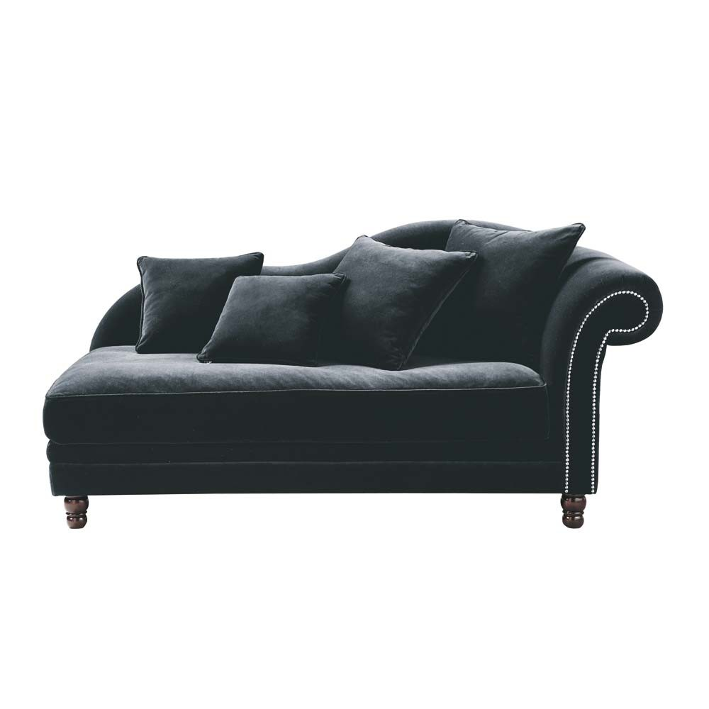 Chaise longue nera in velluto scala maisons du monde - Maison du monde chaise longue ...