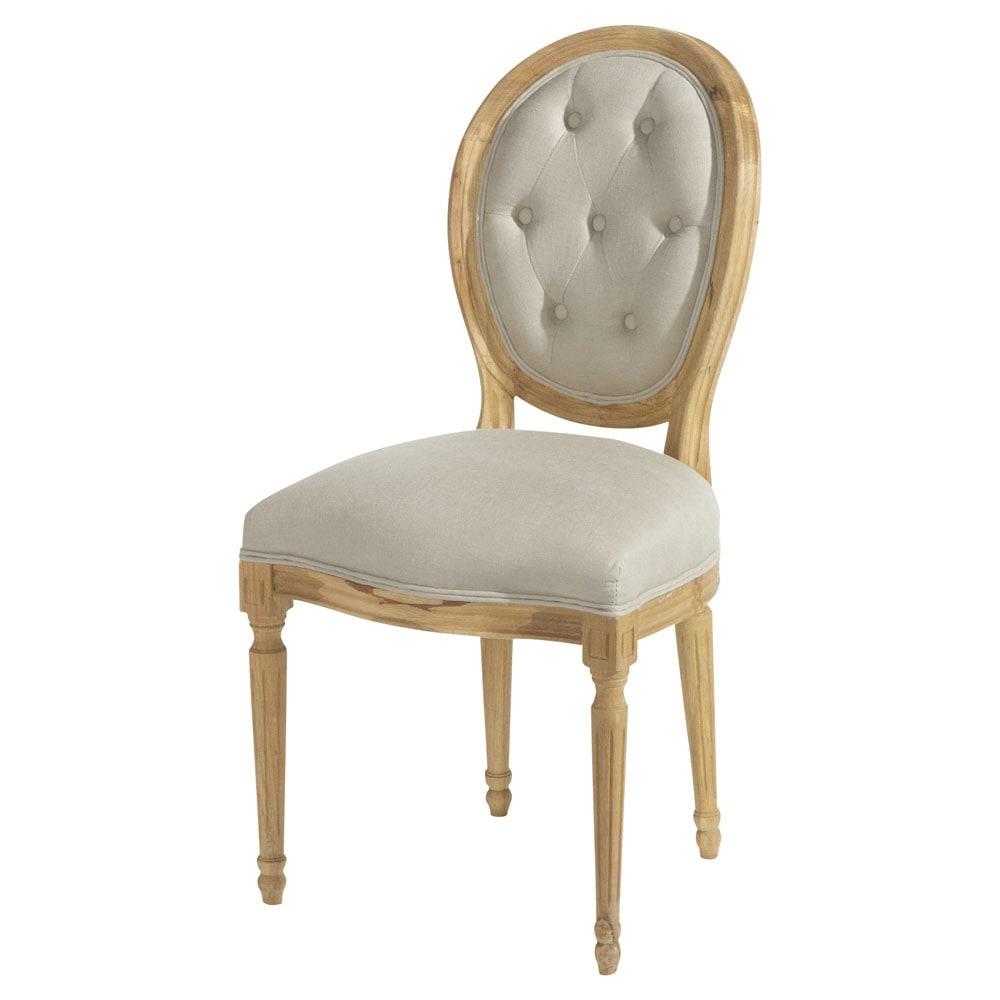 Chaise m daillon capitonn e en lin et ch ne massif louis - Chaise medaillon maison du monde ...