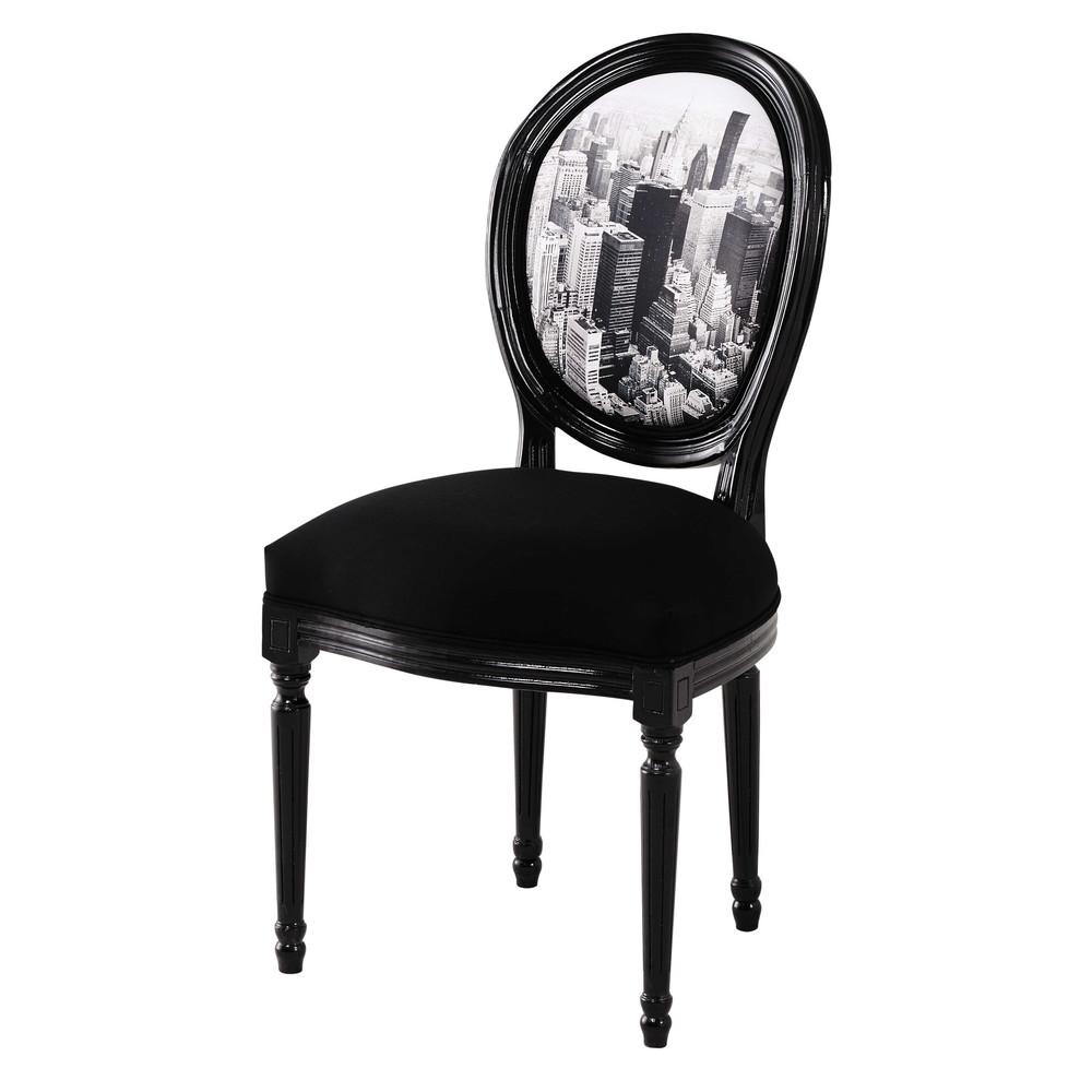 chaise m daillon en coton imprim et ch taignier noire. Black Bedroom Furniture Sets. Home Design Ideas