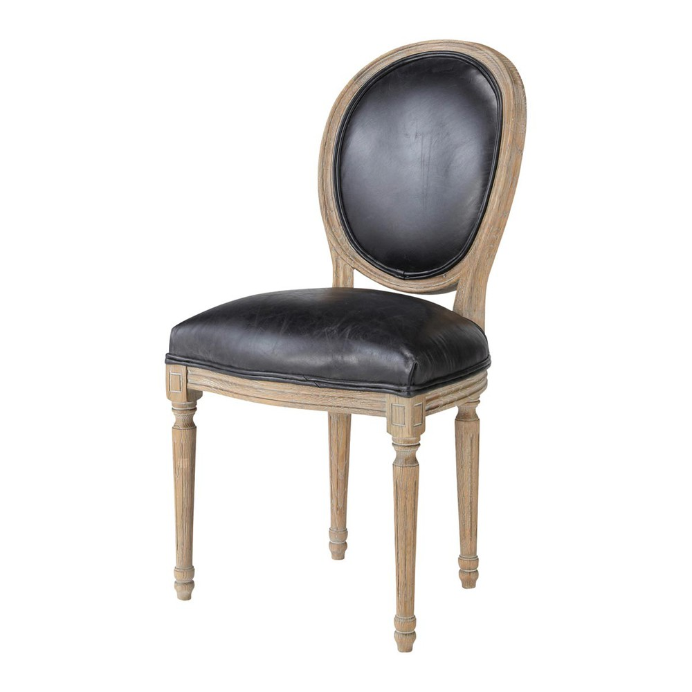 chaise m daillon en cuir et ch ne massif noire louis maisons du monde. Black Bedroom Furniture Sets. Home Design Ideas