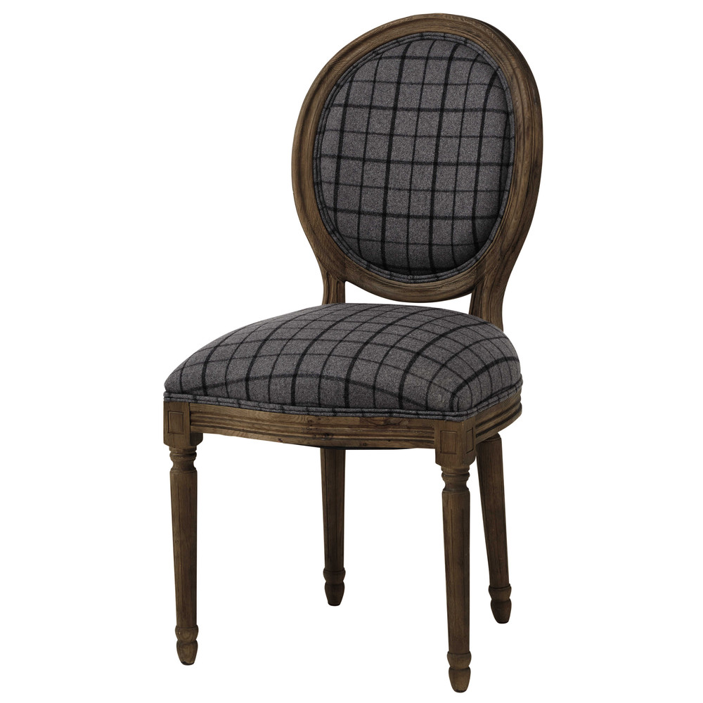 chaise m daillon en tissu carreaux et ch ne gris louis maisons du monde. Black Bedroom Furniture Sets. Home Design Ideas