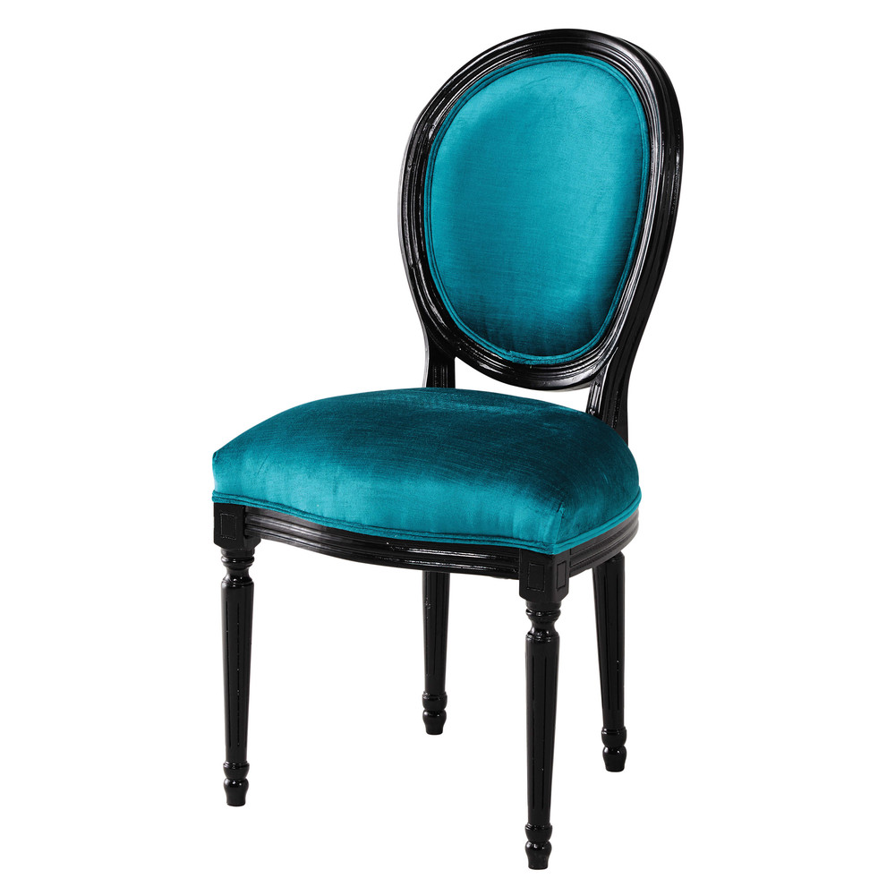 chaise m daillon en velours bleu et bois noir louis maisons du monde. Black Bedroom Furniture Sets. Home Design Ideas