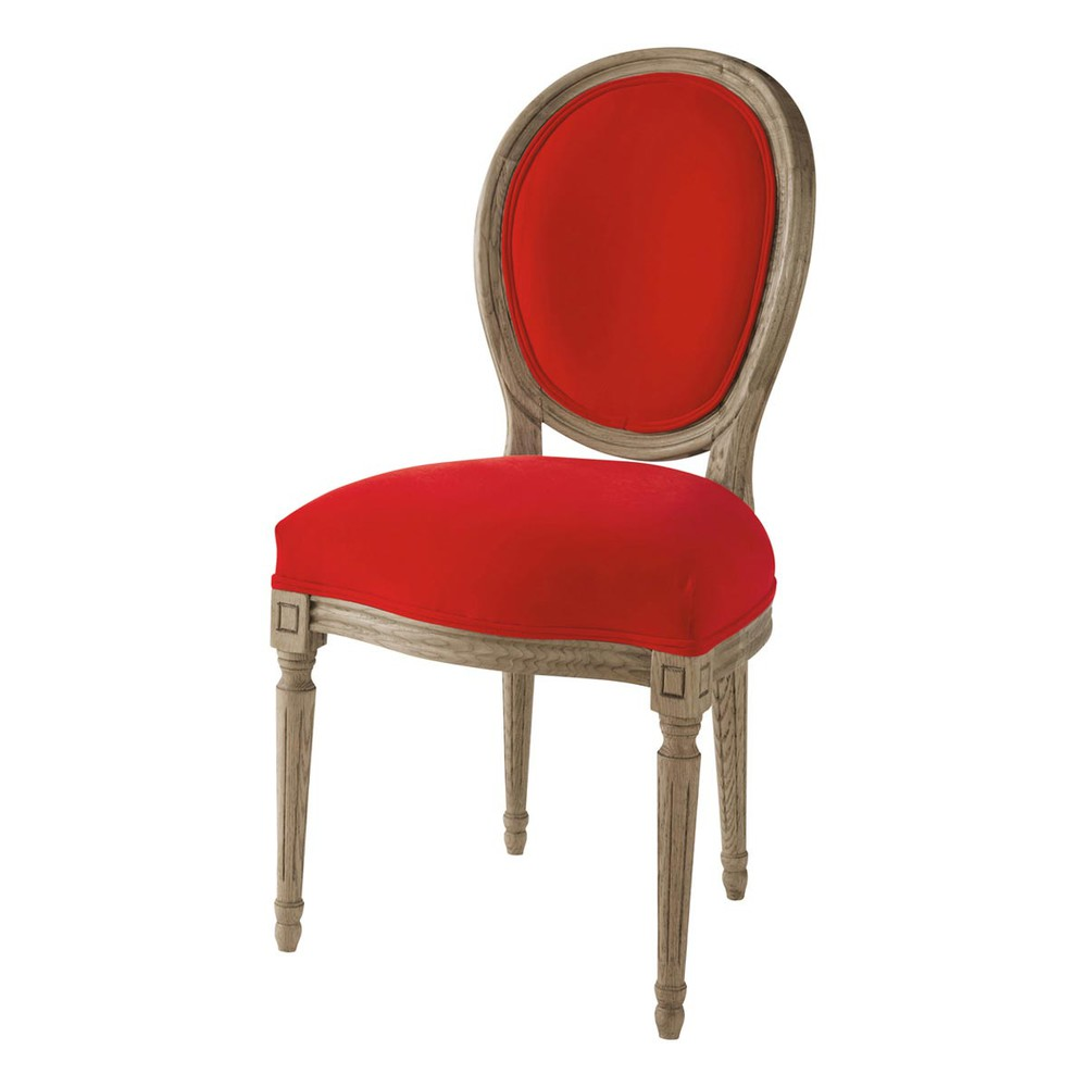 Chaise m daillon en velours et ch ne massif rouge louis for Chaise louis maison du monde
