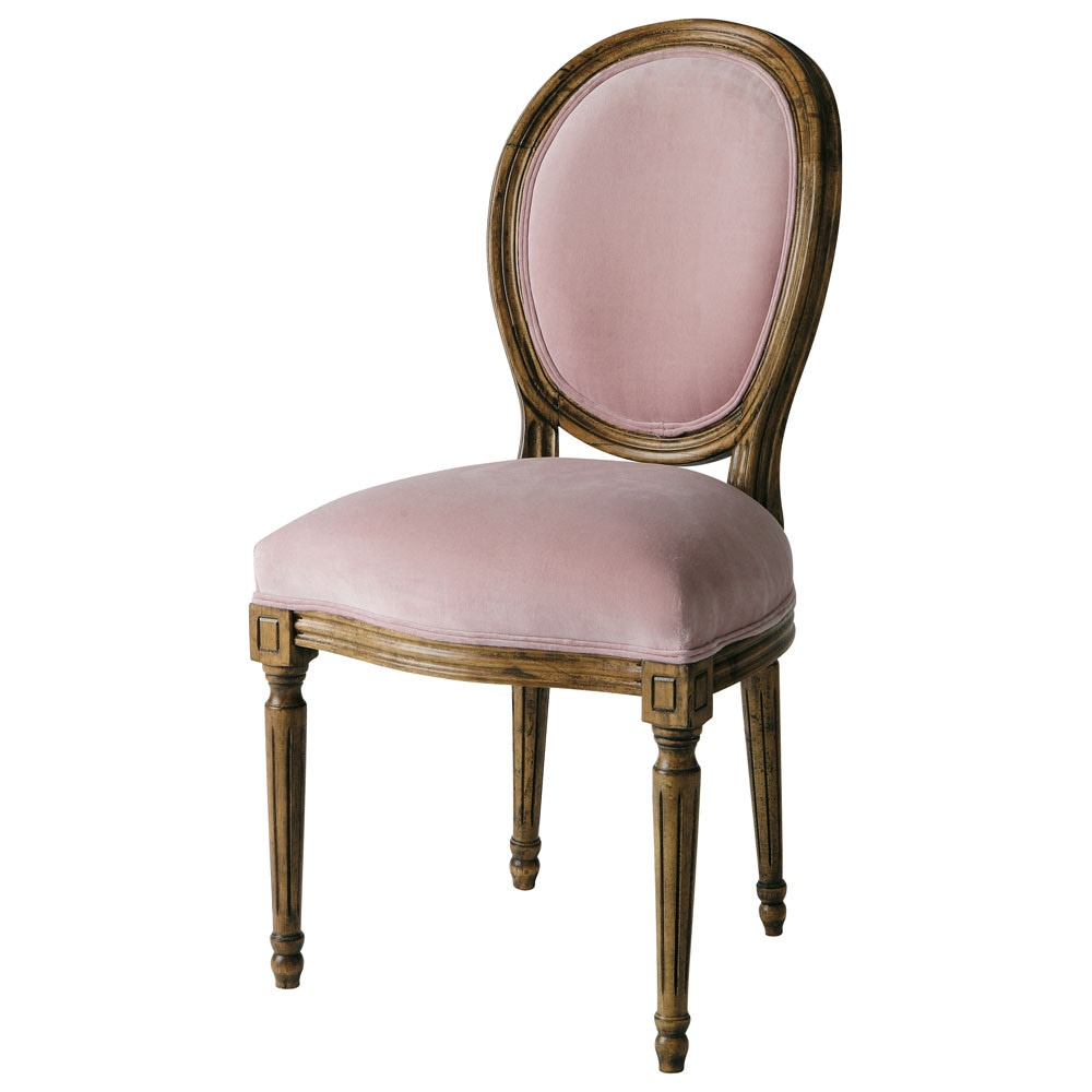 Chaise m daillon en velours rose louis maisons du monde - Maison du monde chaise louis ...