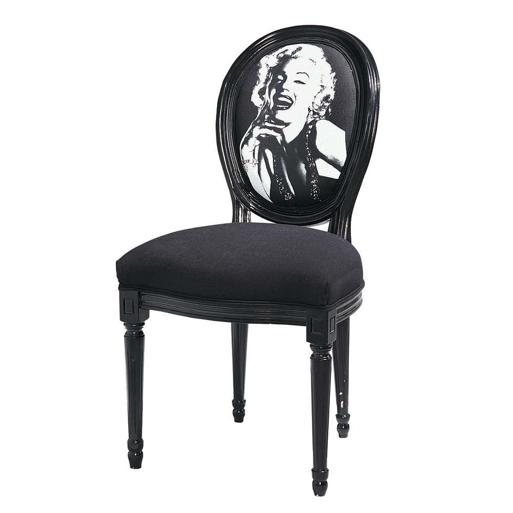chaise m daillon imprim e marilyn en coton et bois noir louis maisons du monde. Black Bedroom Furniture Sets. Home Design Ideas