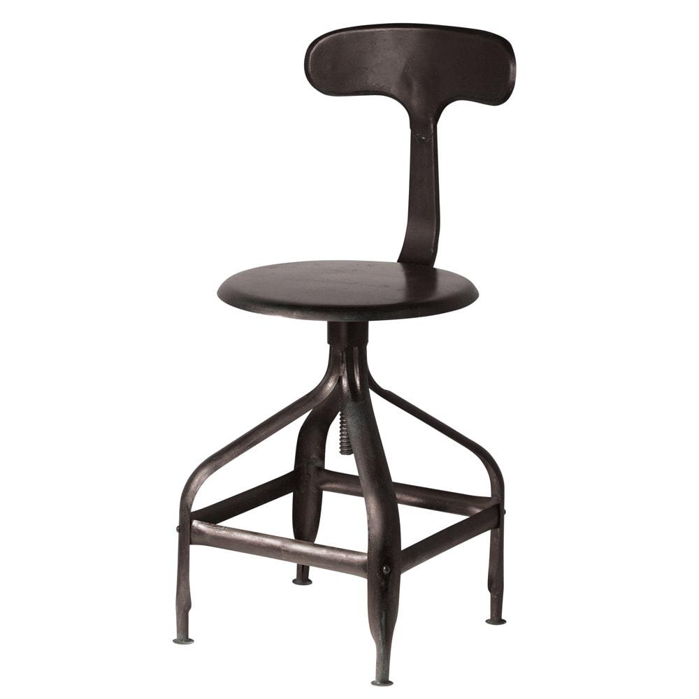 Chaise noire indus t l graphe maisons du monde for Chaise industrielle maison du monde