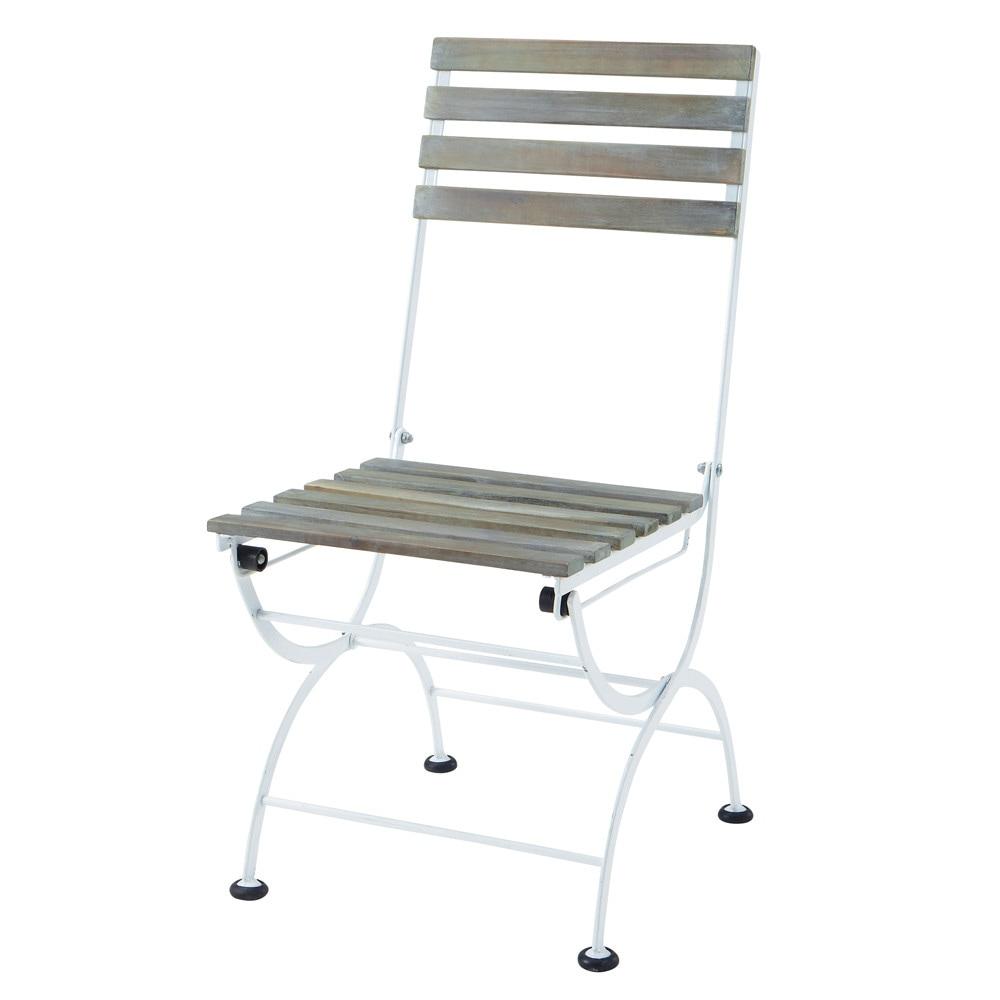 chaise pliante de jardin en m tal et acacia blanche garden party maisons du monde. Black Bedroom Furniture Sets. Home Design Ideas