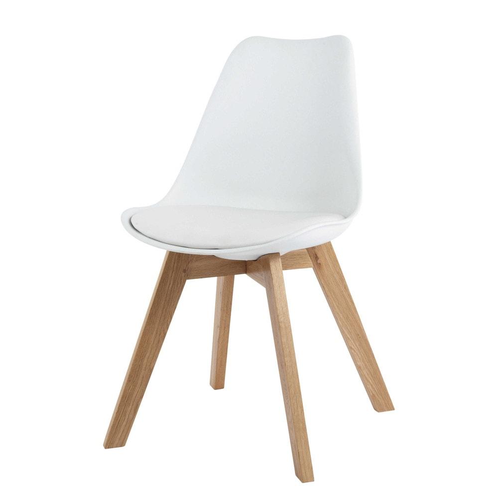 chaise scandinave blanche et ch ne massif ice maisons du monde. Black Bedroom Furniture Sets. Home Design Ideas