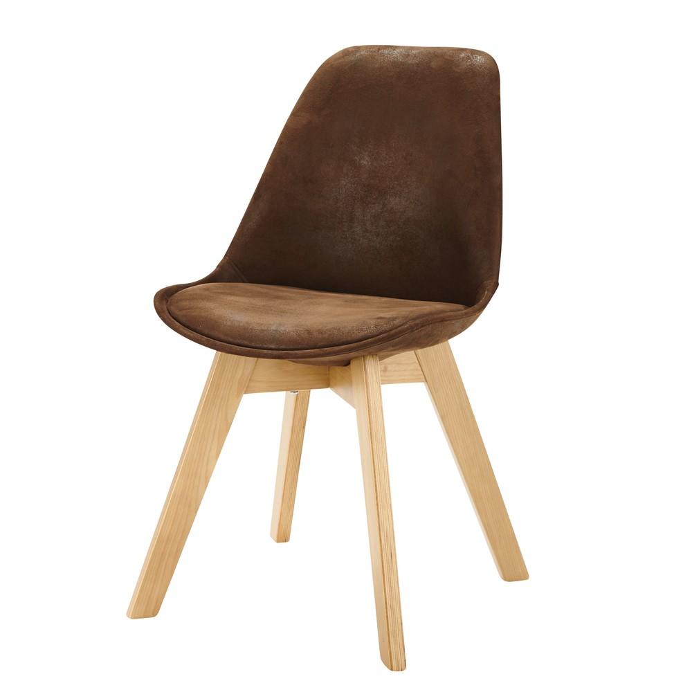 chaise scandinave en microsu u00e8de marron ice