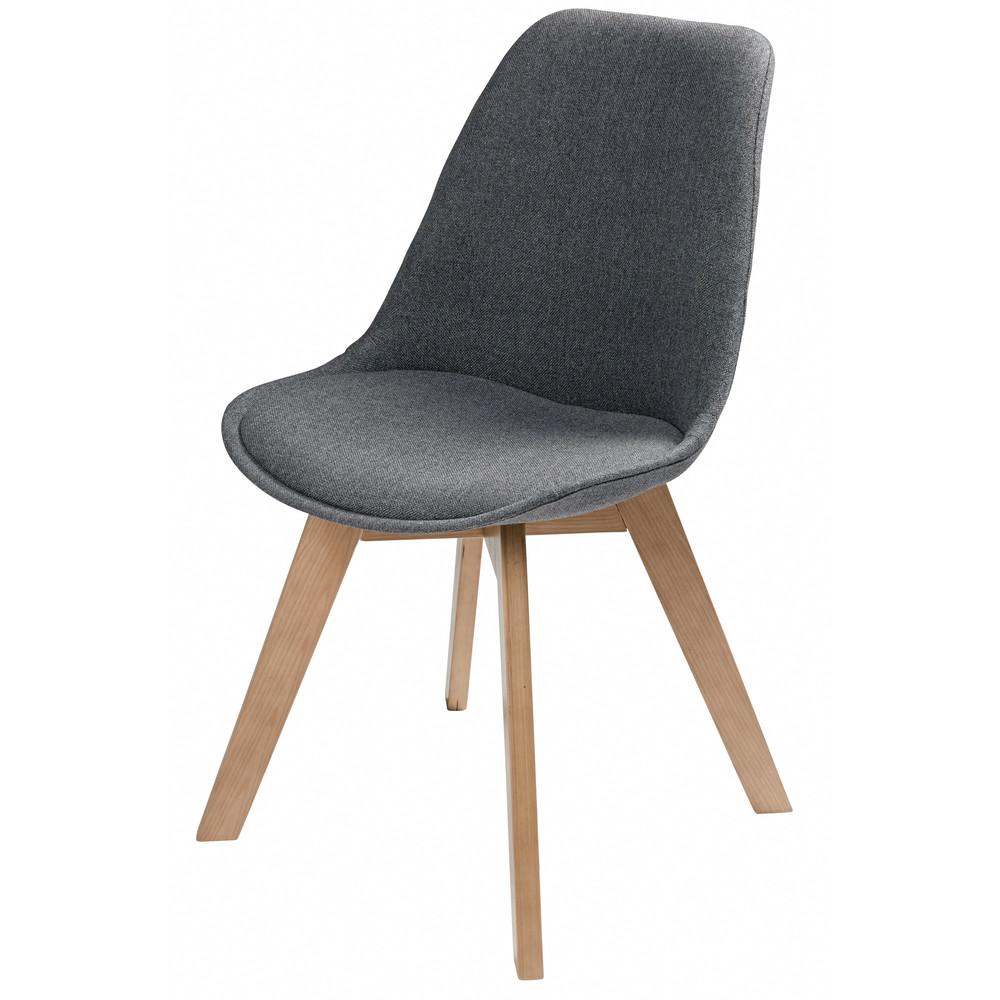 Chaise scandinave en tissu gris chin ice maisons du monde for Chaise ice maison du monde