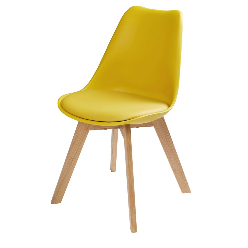 Chaise scandinave jaune moutarde ice maisons du monde - Fauteuil jaune moutarde ...