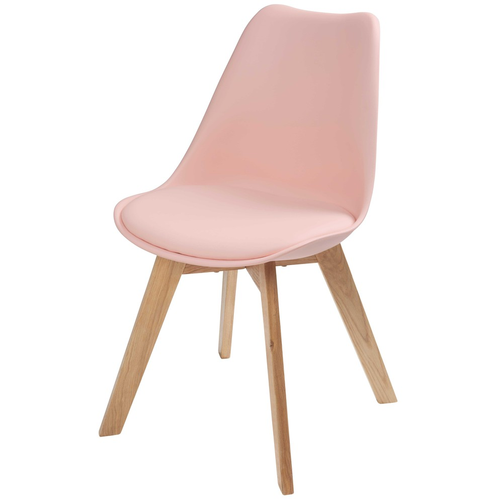 chaise scandinave rose pastel et ch ne massif ice. Black Bedroom Furniture Sets. Home Design Ideas
