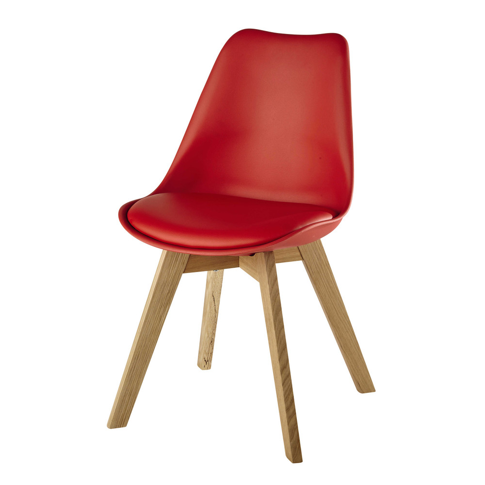 chaise scandinave rouge ice maisons du monde