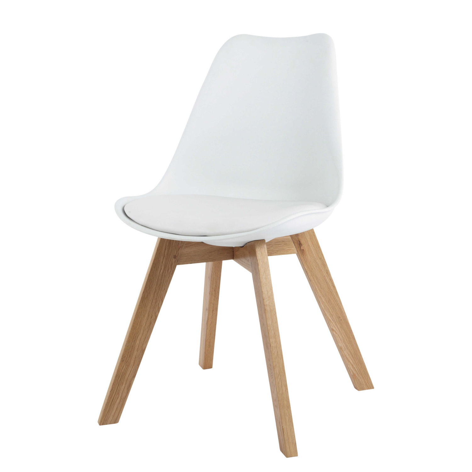 Chaise Style Scandinave Blanche Et Chene Massif Ice Maisons Du Monde
