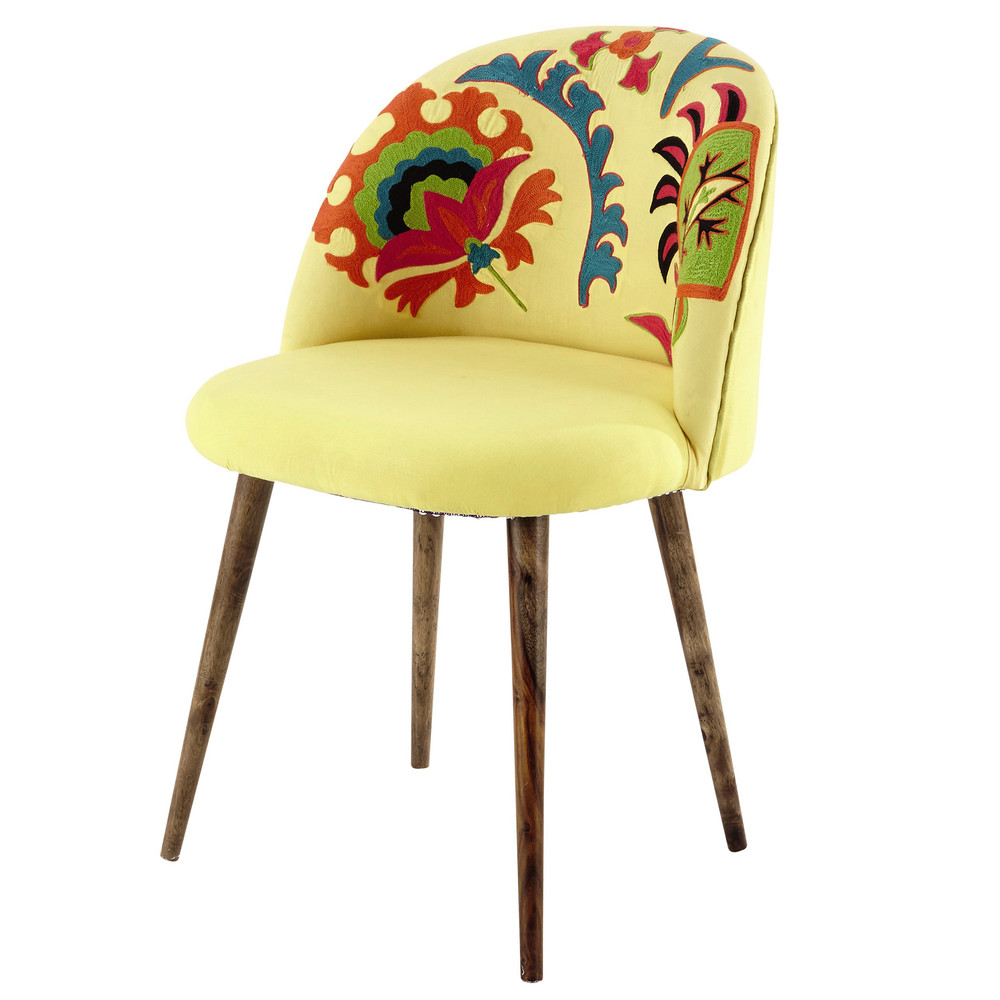 chaise vintage en coton brod et bois de sheesham jaune mauricette maisons du monde. Black Bedroom Furniture Sets. Home Design Ideas