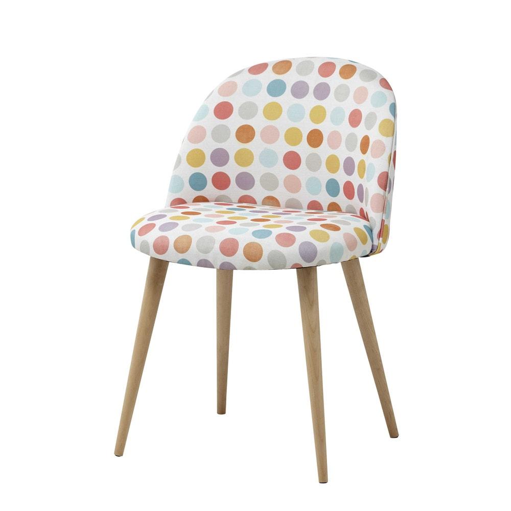 Chaise vintage en tissu pois multicolores mauricette for Bureau fille maison du monde