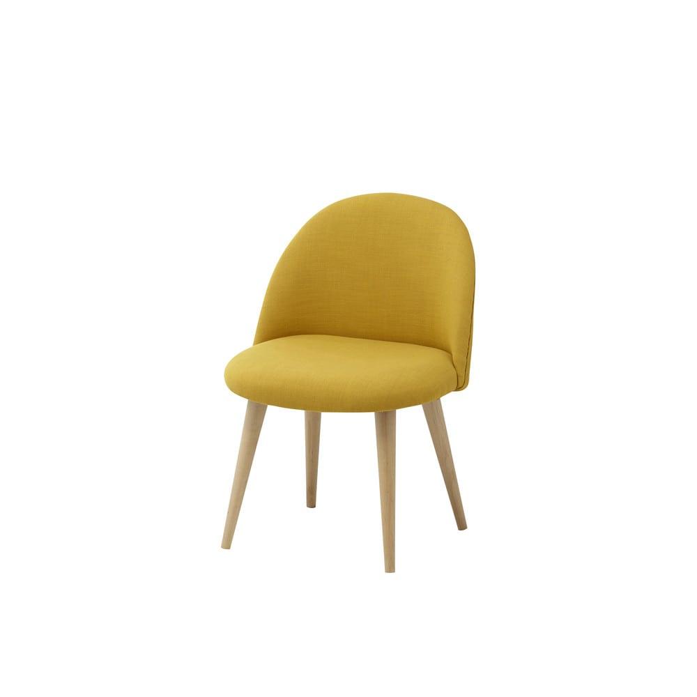 Chaise vintage enfant en tissu jaune mauricette maisons for Chaise en tissu colore