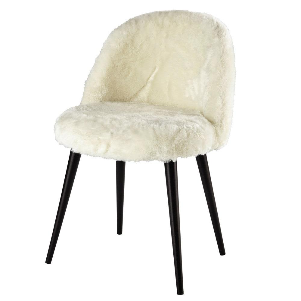 chaise vintage fausse fourrure ivoire et bouleau massif noir mauricette maisons du monde. Black Bedroom Furniture Sets. Home Design Ideas