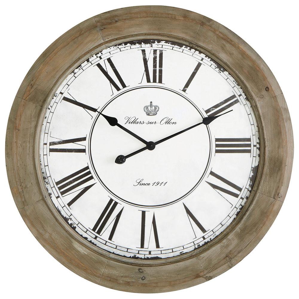 chalet whitewashed wood clock d 74cm maisons du monde. Black Bedroom Furniture Sets. Home Design Ideas