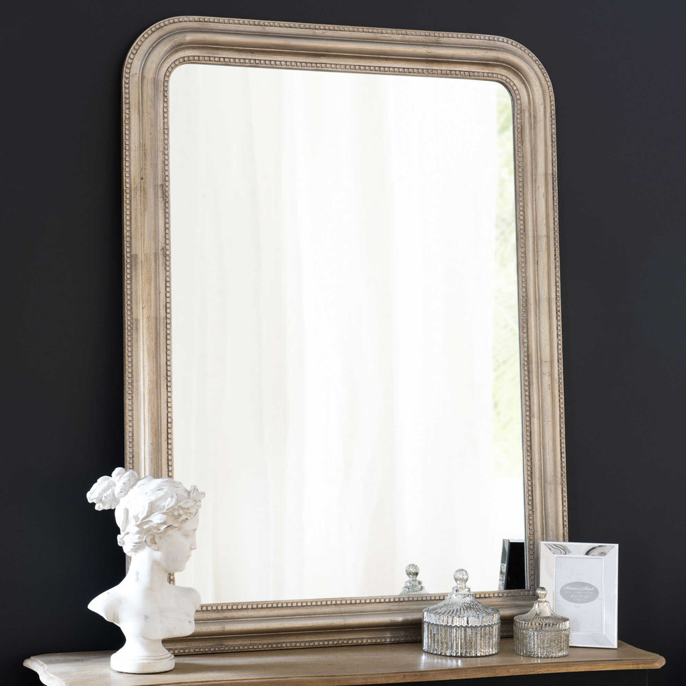 champagnerfarbenen spiegel aus paulownienholz 90x120 maisons du monde. Black Bedroom Furniture Sets. Home Design Ideas