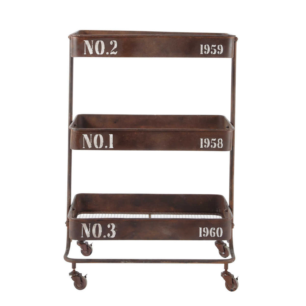 chariot roulettes en m tal effet rouille l 67 cm andrew maisons du monde. Black Bedroom Furniture Sets. Home Design Ideas