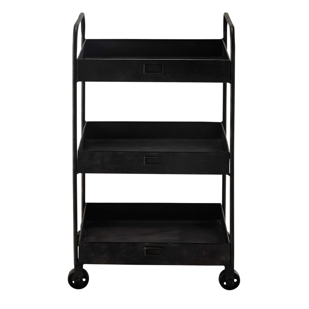 chariot roulettes en m tal noir l 49 cm ralph maisons du monde. Black Bedroom Furniture Sets. Home Design Ideas