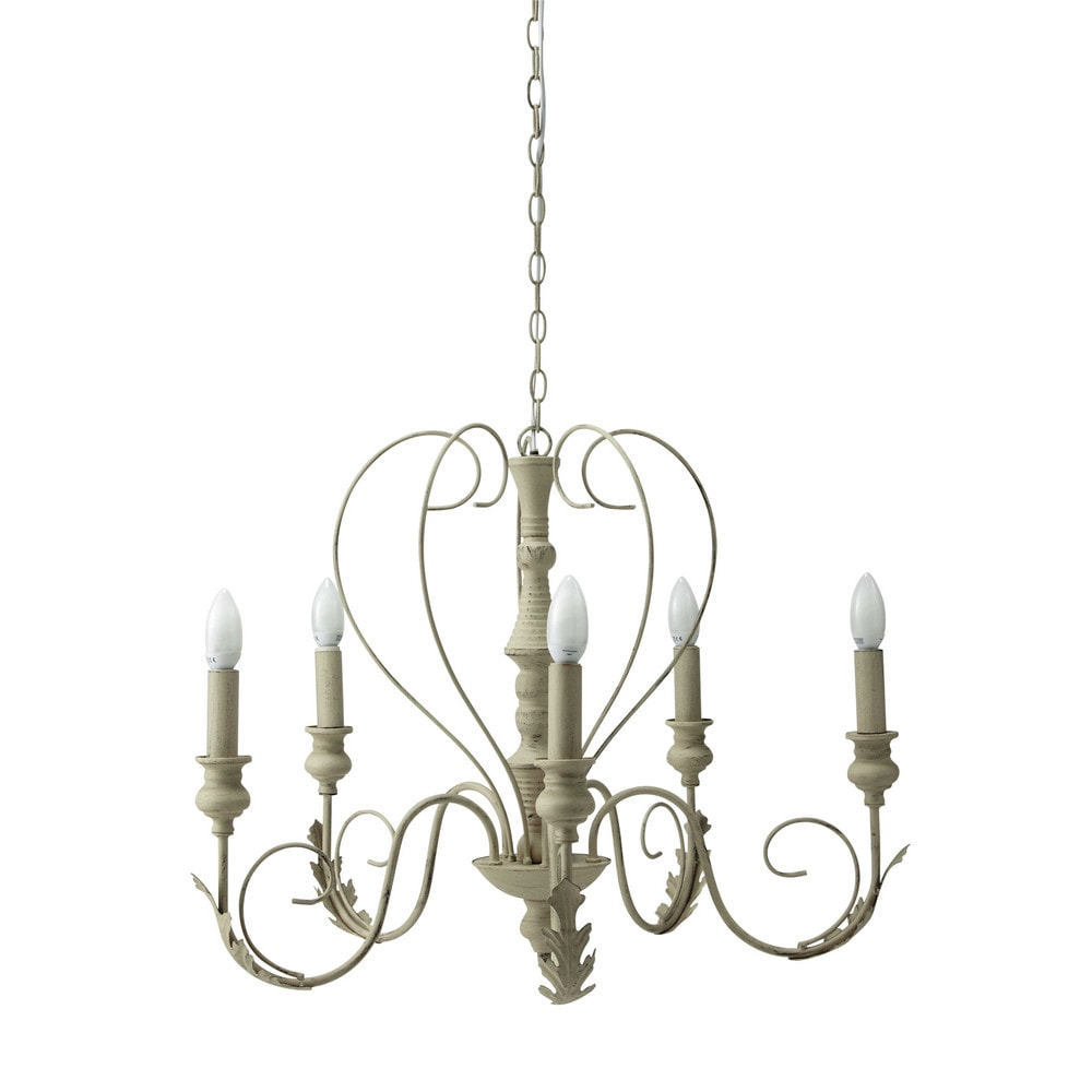 charlotte metal 5 branch chandelier in beige d 63cm maisons du monde. Black Bedroom Furniture Sets. Home Design Ideas