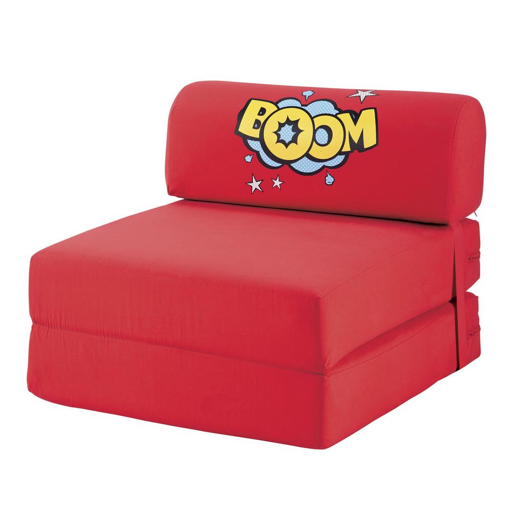Chauffeuse convertible en tissu rouge 74 150 cm comics - Chauffeuse d angle convertible ...