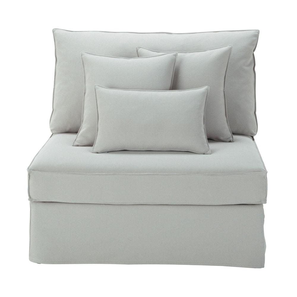 Chauffeuse en coton et lin gris clair enzo maisons du monde - Maison du monde chauffeuse ...