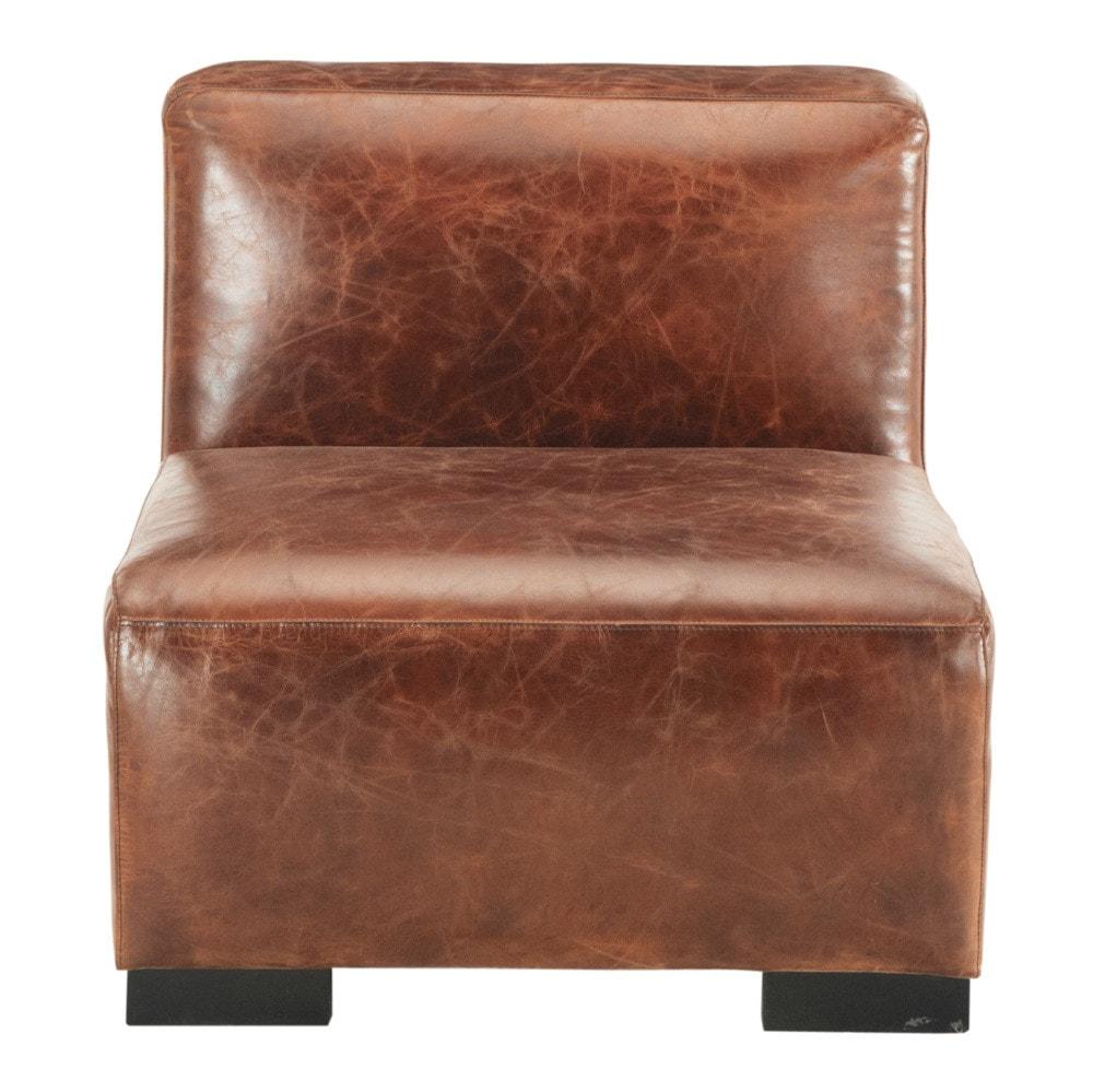 chauffeuse en cuir marron l 71 cm john maisons du monde. Black Bedroom Furniture Sets. Home Design Ideas