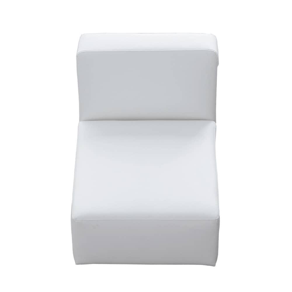 Chauffeuse imitation cuir blanche l 66 cm modulo maisons du monde - Chauffeuse cuir blanc ...
