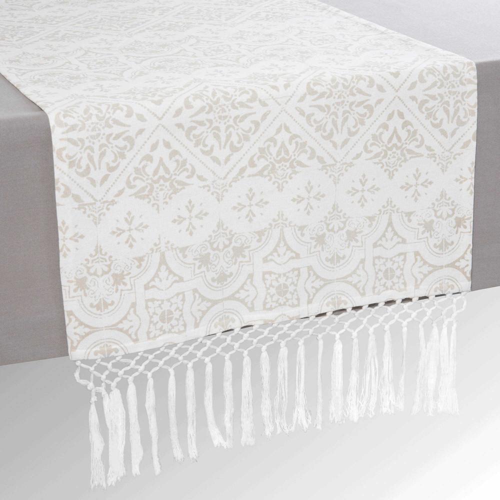 chemin de table franges en coton l 150 cm pise maisons du monde. Black Bedroom Furniture Sets. Home Design Ideas