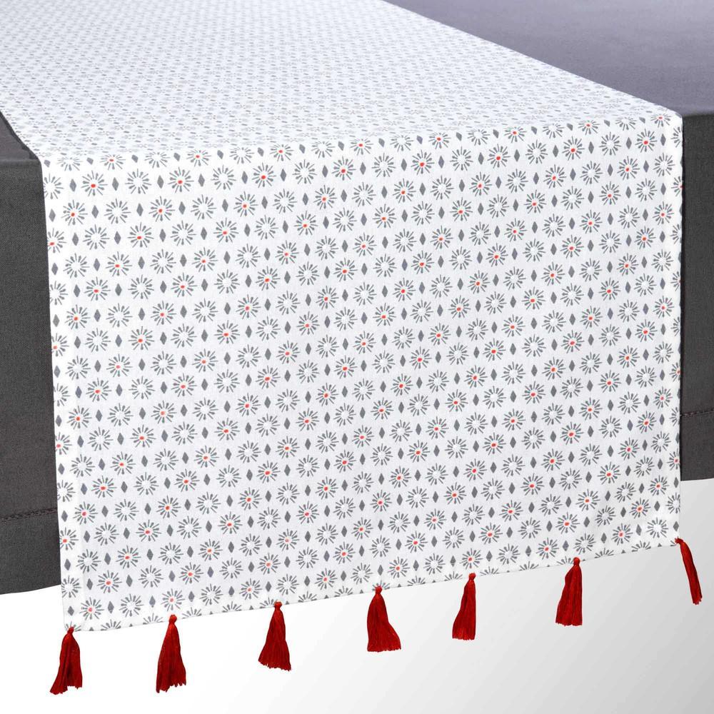 Chemin de table pompons en coton l 150 cm norimba maisons du monde - Maison du monde chemin de table ...