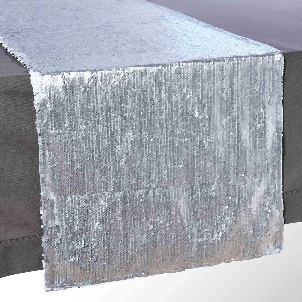 chemin de table sequins blancs l 150 cm star maisons. Black Bedroom Furniture Sets. Home Design Ideas