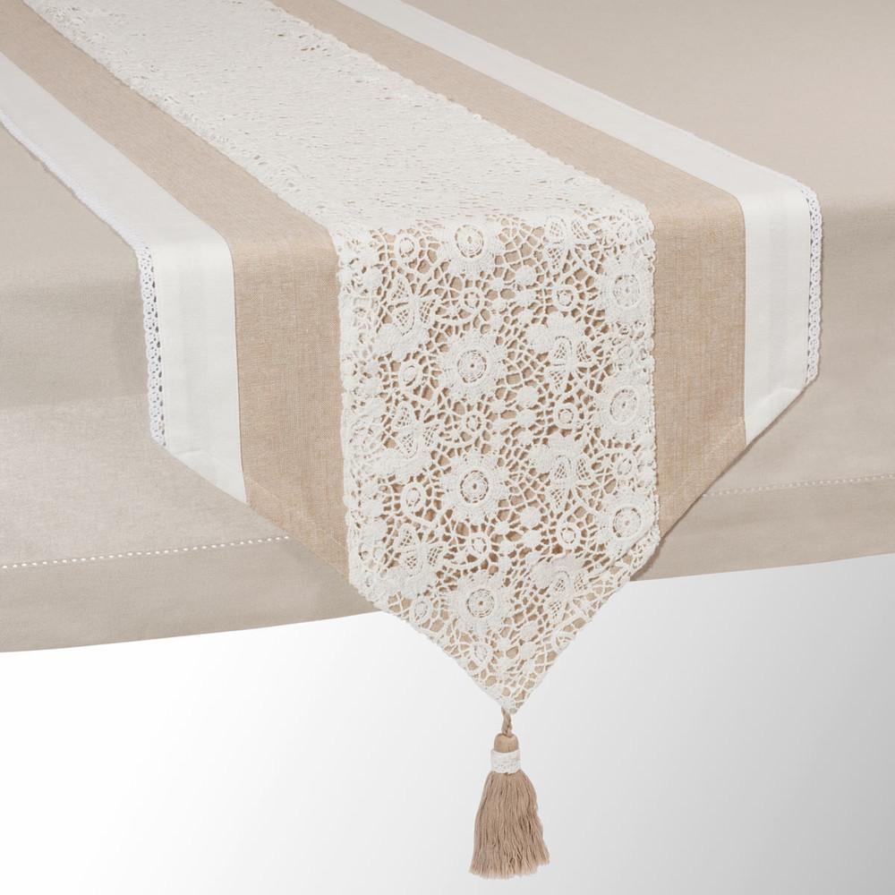 Chemin de table en coton beige l 150 cm wonderful - Chemin de table beige ...