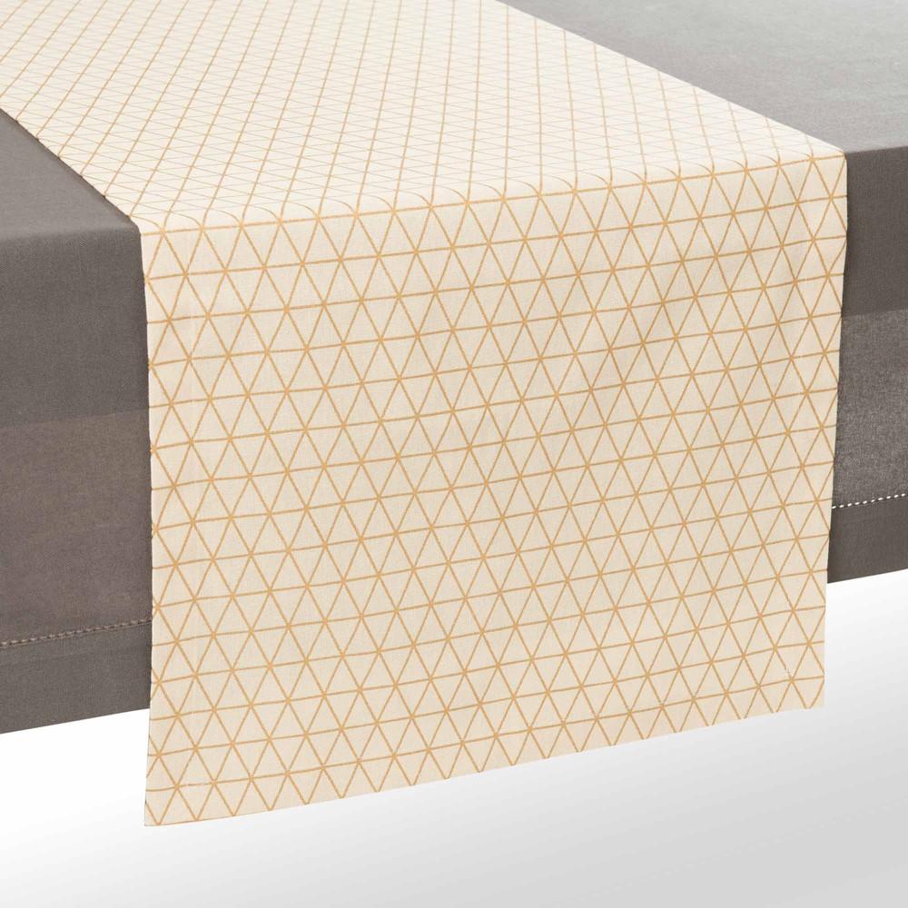 chemin de table en coton cru dor l 180 cm queens. Black Bedroom Furniture Sets. Home Design Ideas